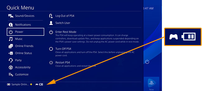 Image highlighting dualshock 4 charging icon located on the PS4 menu